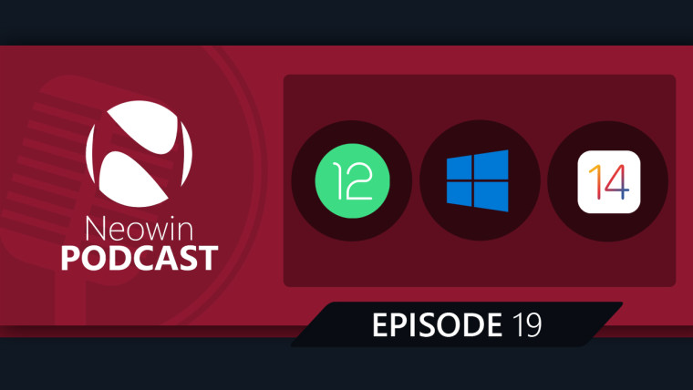 Android 12, Windows, and iOS 14 logos in black circles next to the Neowin Podcast logo