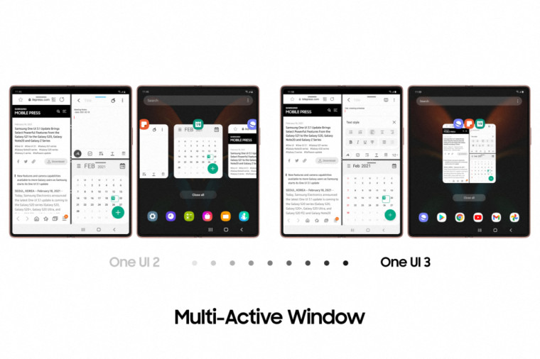 Multiple app windows on a Samsung Galaxy Z Fold2 screen