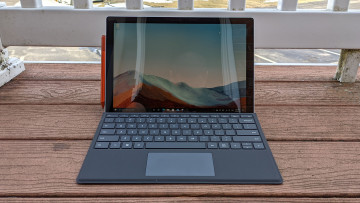 Surface Pro 7+ on wooden deck