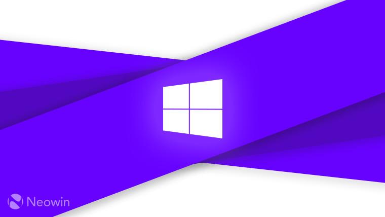 Windows logo on purple and light grey background