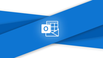 Outlook logo (monochrome) on blue and light grey background