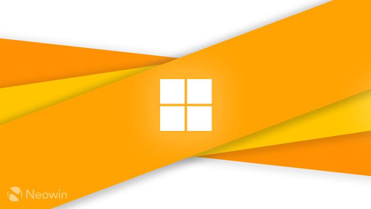 Microsoft logo symbol (monochrome) on orange and light grey background