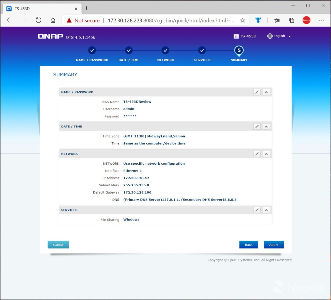 QNAP Installation Finalization