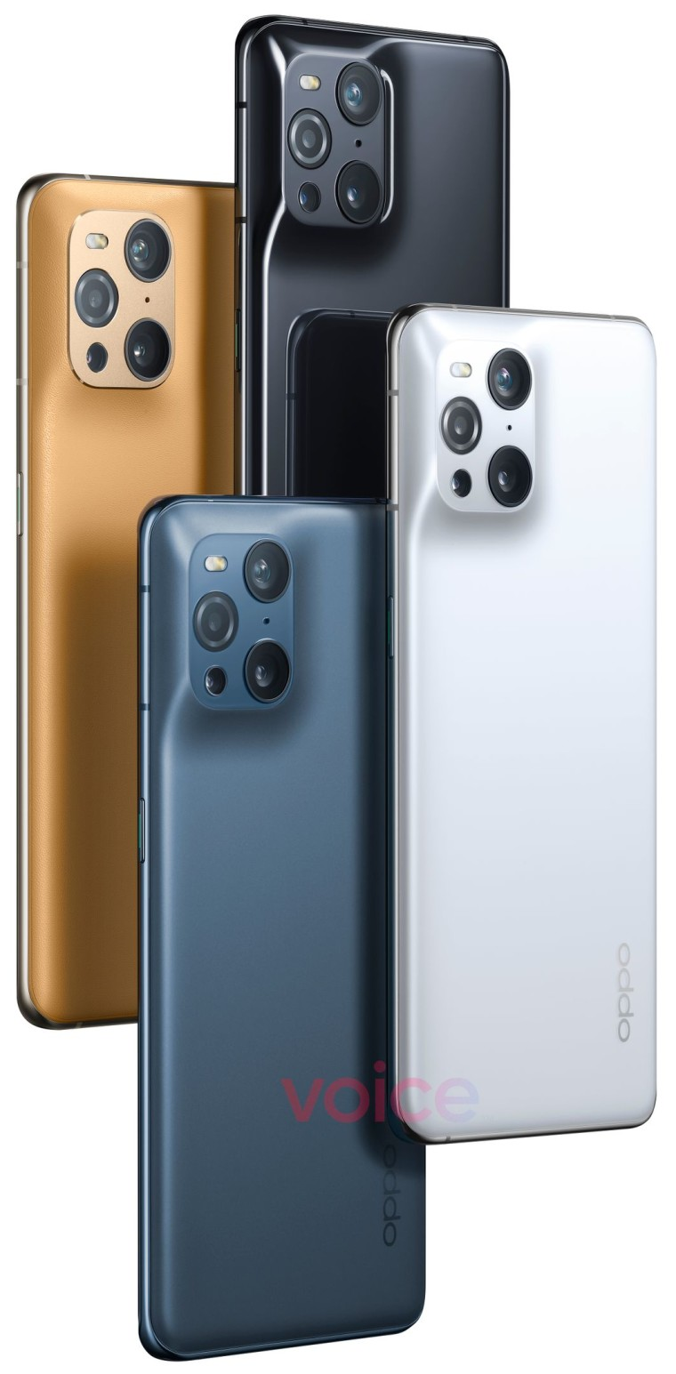 The OPPO Find X3 Pro in white black navy and golden color options