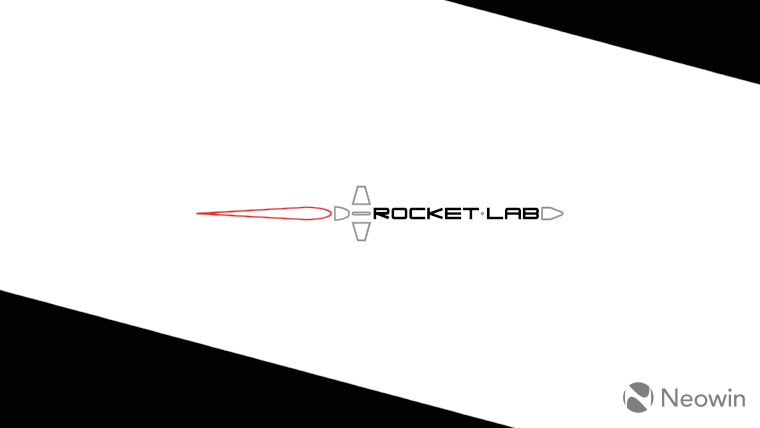 The Rocket Lab logo on a white and black wallpaper