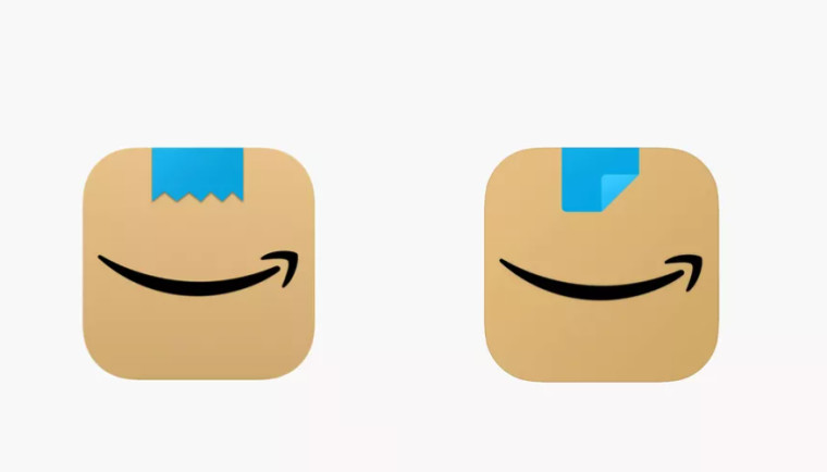 Old and new app icons for Amazon on left and right respectively