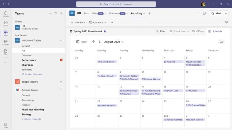Calendar view in the Lists app in Microsoft Teams