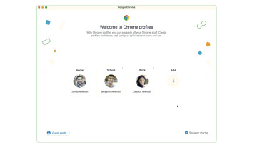 Screenshot of Chrome&039s revamped profile experience on desktop showing three different profiles