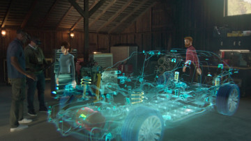 Multiple virtual avatars wearing HoloLens standing in front of a holographic car