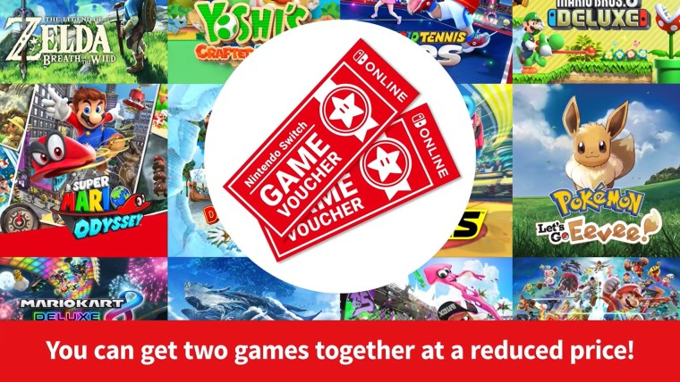 Two Switch Online game vouchers on top of images representing multiple Switch games
