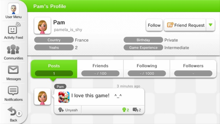 A public user profile on Miiverse on the Wii U