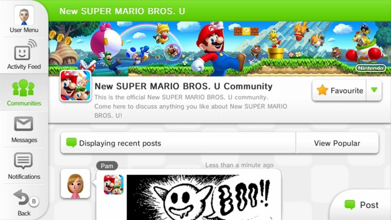 New Super Mario Bros U community on Miiverse for the Wii U
