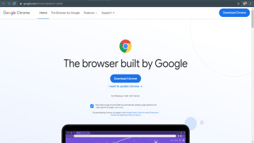 The homepage to download or update Google Chrome