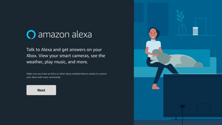 Setup screen for the Alexa app on Xbox