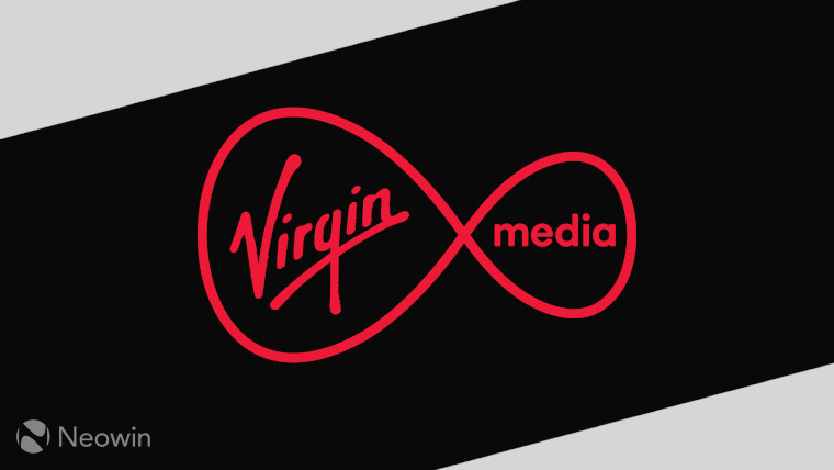 The Virgin Media logo on a black and grey background