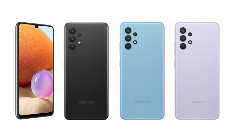 A row of the different variants of Samsung&039s Galaxy A32 in black blue and violet