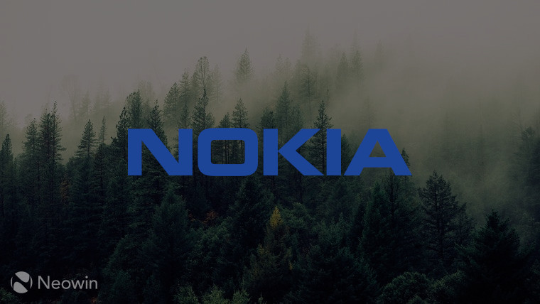 The Nokia logo with trees in the background