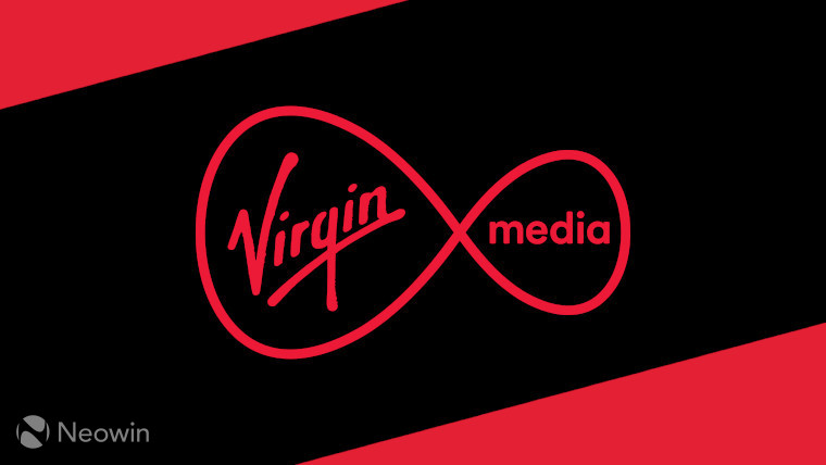 The Virgin Media logo on a black and red background