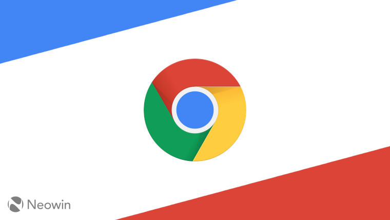 The Google Chrome logo on a red blue and white background