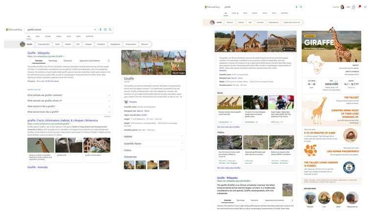 Two Bing search results page showing off the new and the old layouts