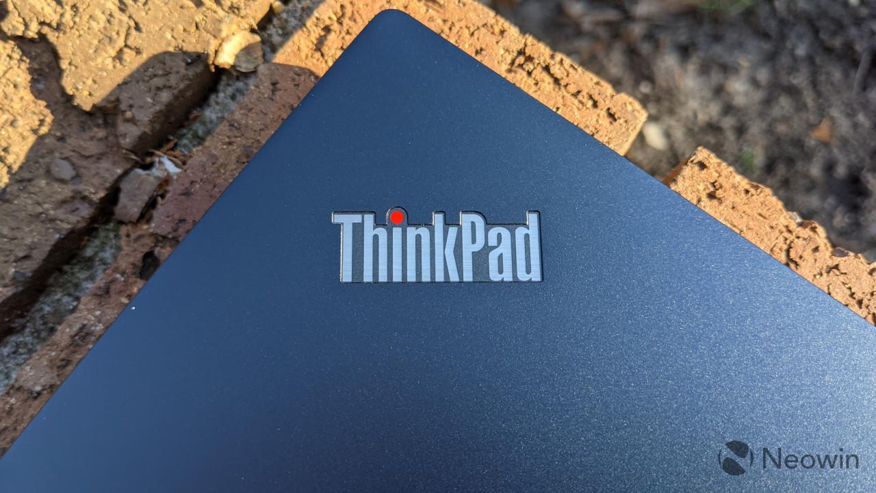 Close-up of the ThinkPad logo on the ThinkPad C13 Yoga