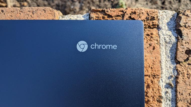 Close-up of Chrome logo on ThinkPad C13 Yoga