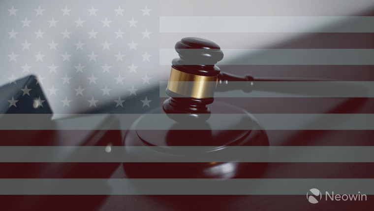 A gavel and the US flag