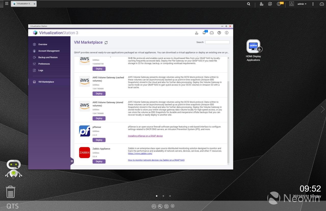 QNAP VM Marketplace in VirtualizationStation