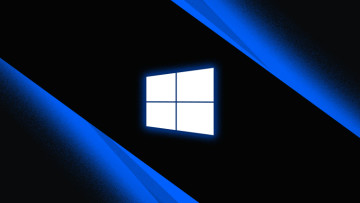 Windows 10 logo monochrome with blue outer glow on dark background