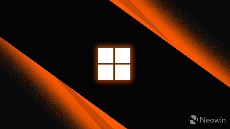 Microsoft logo symbol monochrome with orange outer glow on dark background