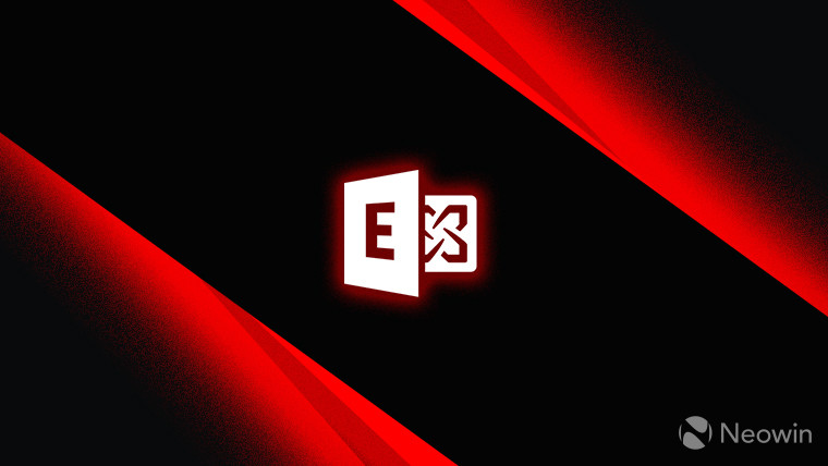 Microsoft Exchange logo monochrome with red outer glow on dark background