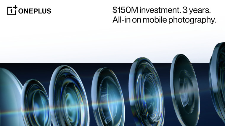 Smartphone camera lenses with text saying there will be a 150M investment