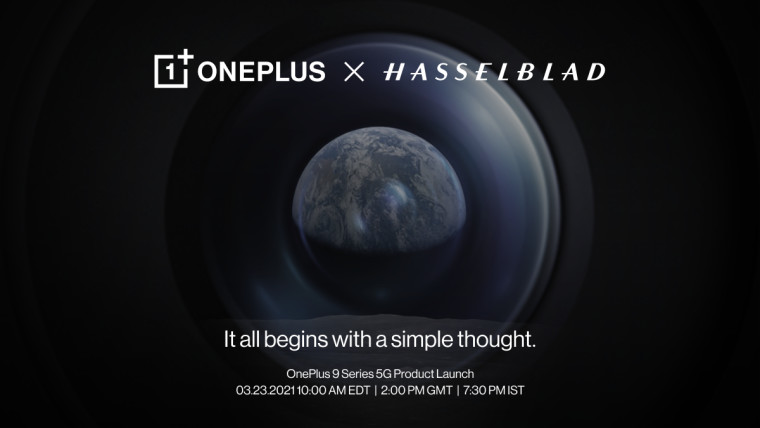 OnePlus x Hasselblad text with details of launch event