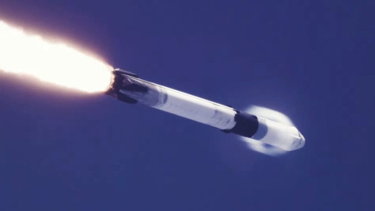 A Falcon-9 rocket going into space