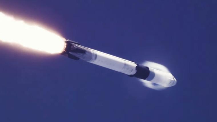 Un cohete Falcon-9 en el espacio.