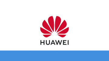 The Huawei logo on a white and blue background