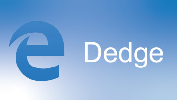 Microsoft Edge logo on blue background with Dedge text