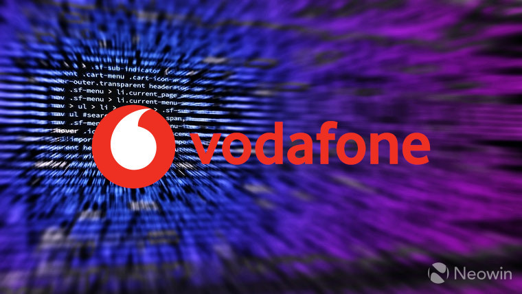 The Vodafone logo with computer code behind