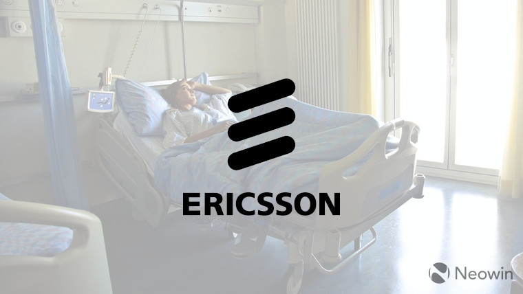 The Ericsson logo with a hospital in the background