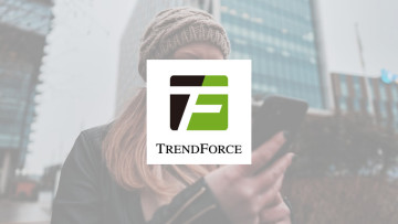 The TrendForce logo with a woman in the background holding a phone