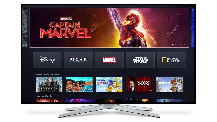 A smart TV with a carousel of Disney movies and shows such as Captain Marvel Rogue One Moana and mor