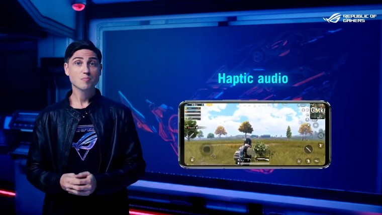ROG Phone 5 display with the words Haptic audio above it
