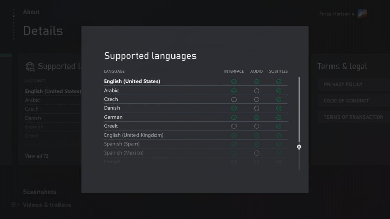 List of supported languages for Forza Horizon 4 on an Xbox console