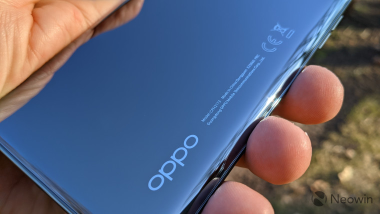 Close-up of OPPO branding on Find X3 Pro