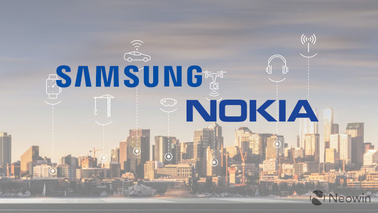 The Nokia and Samsung logos with a city background