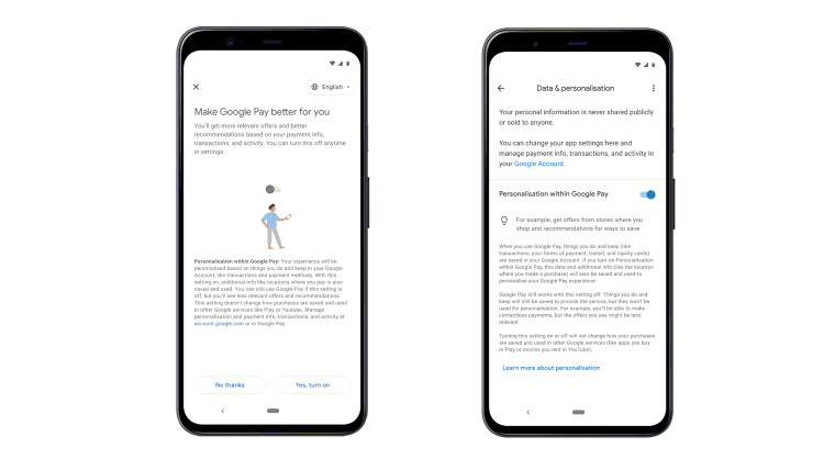 Screenshot of new privacy controls in Google Pay that let you disable personalization features in In