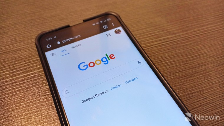 Google home page being shown on a mobile device