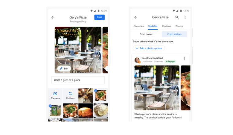 Screenshot of the new photo updates feature of Google Maps to let you upload the most recent photos