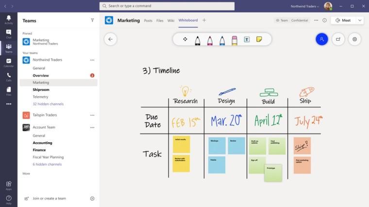 Microsoft Whiteboard tab in a Teams channel