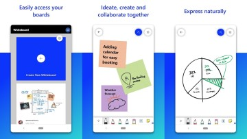 Three screenshots of Microsoft Whiteboard for Android
